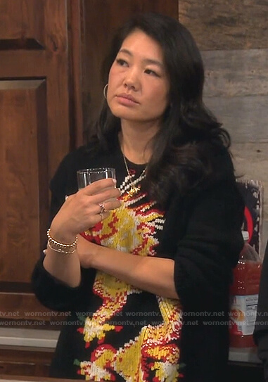 Crystal's black dragon print sweater on The Real Housewives of Beverly Hills