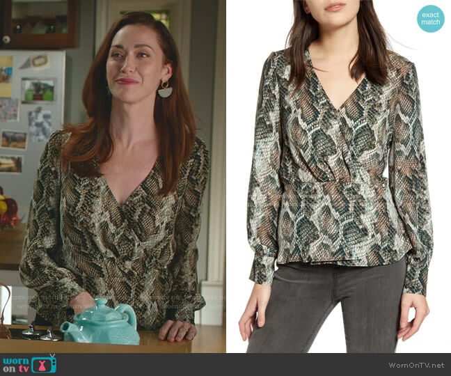 Jasper Long Sleeve Wrap Top by Cupcakes and Cashmere worn by Abigail Pershing (Sarah Power) on Good Witch