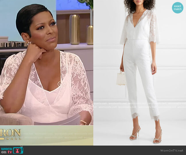 Cropped lace jumpsuit by Cushnie worn by Tamron Hall  on Tamron Hall Show