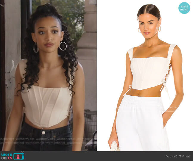 Classic Fitted Corset by Danielle Guizio worn by Olivia Baker (Samantha Logan) on All American