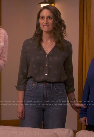 Dawn's polka dot blouse and wide leg jeans on Girls5eva