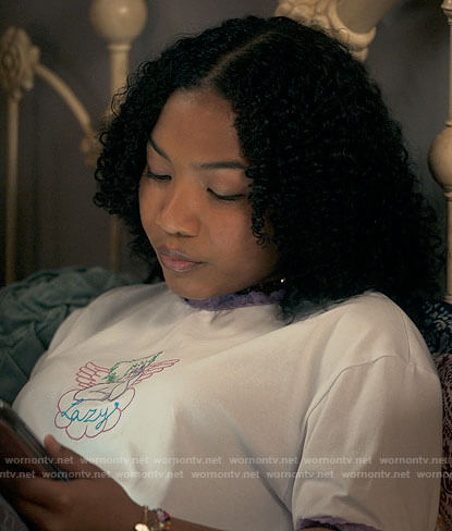Delilah's lazy cherub tee on The Equalizer