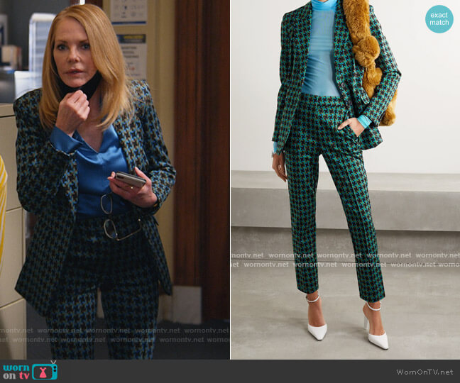 Petra jacquard blazer and pants by Diane von Furstenberg worn by Lisa Benner (Marg Helgenberger) on All Rise