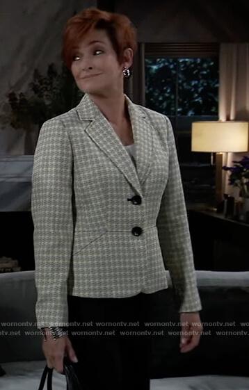 Diane's yellow tweed check blazer on General Hospital