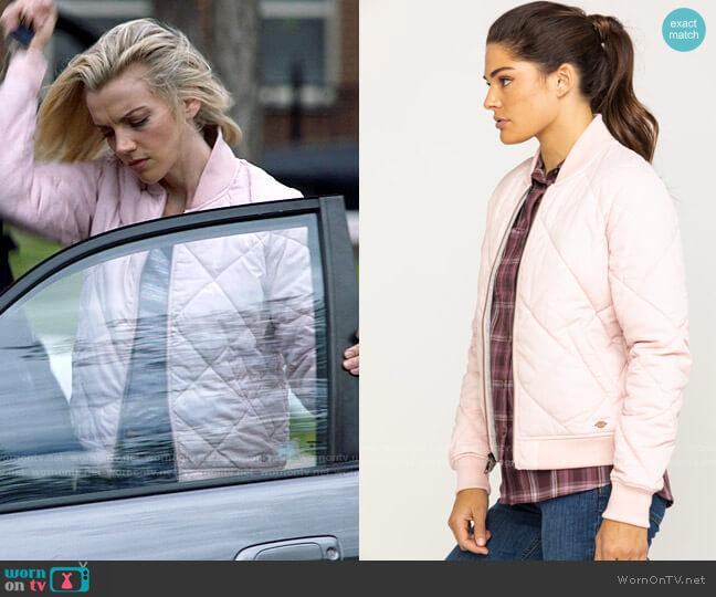 Dickies Quilted Bomber Jacket in Light Pink worn by Sylvie Brett (Kara Killmer) on Chicago Fire