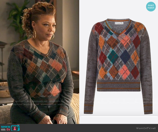 Dior Diamond Motif Sweater worn by Robyn McCall (Queen Latifah) on The Equalizer