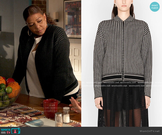 Dior Houndstooth Bomber Cashmere Jacket worn by Robyn McCall (Queen Latifah) on The Equalizer