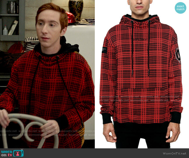 Diplomacy The Red Hood Colorblocked Houndstooth Plaid Patch Hoodie worn by Big Red (Larry Saperstein) on High School Musical The Musical The Series