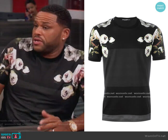 Floral Print Tee by Dolce & Gabbana worn by Andre Johnson (Anthony Anderson) on Blackish