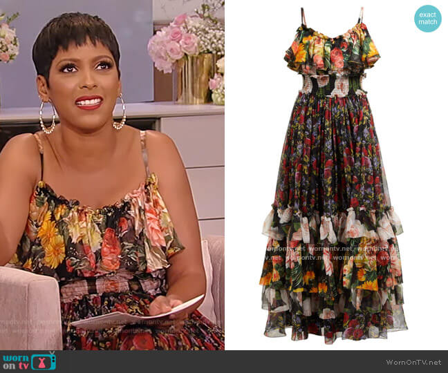 Floral-print tiered silk-chiffon gown by Dolce & Gabbana worn by Tamron Hall  on Tamron Hall Show