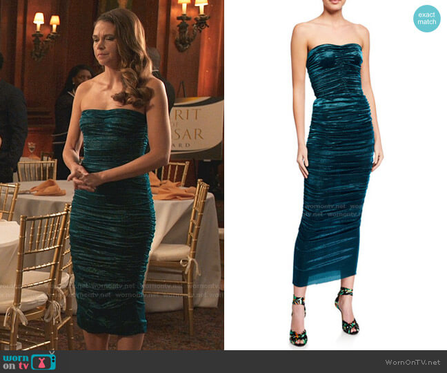 Ruched Lame Strapless Dress by Dolce & Gabbana worn by Liza Miller (Sutton Foster) on Younger