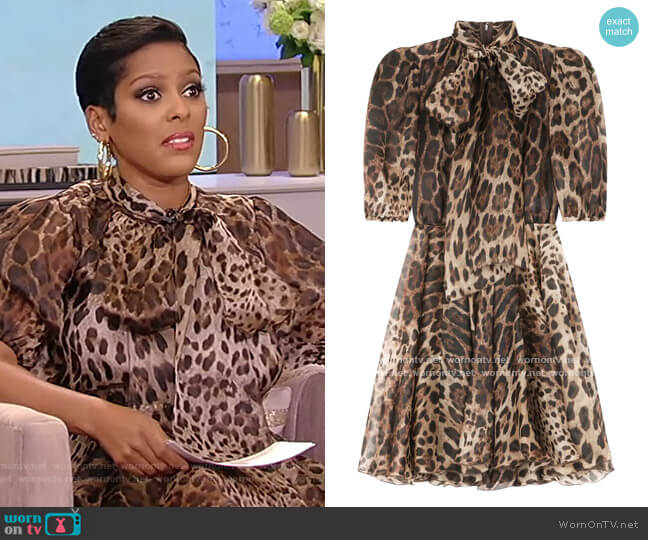 Leopard-print pussybow Dress by Dolce & Gabbana worn by Tamron Hall  on Tamron Hall Show