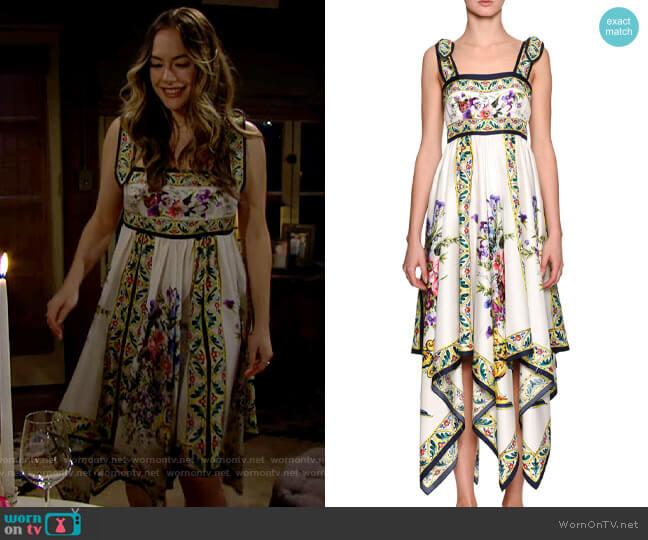 Dolce & Gabbana Floral-Print Silk Handkerchief Dress worn by Hope Logan (Annika Noelle) on The Bold & the Beautiful