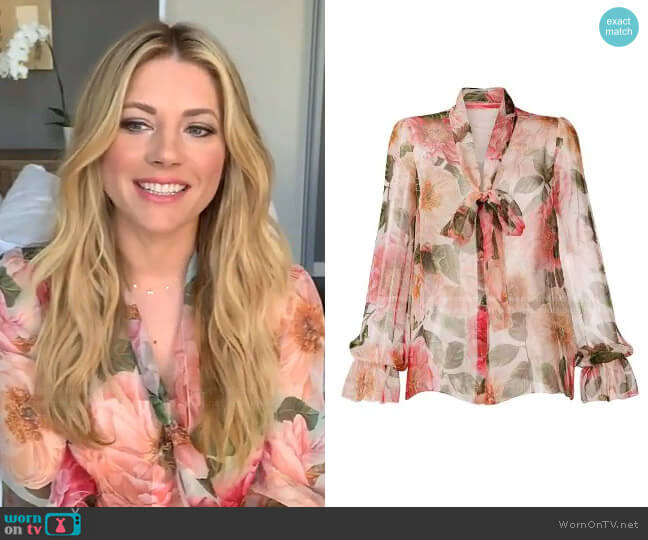 Floral-Print Blouse by Dolce & Gabbana worn by Katheryn Winnick on Live with Kelly and Ryan