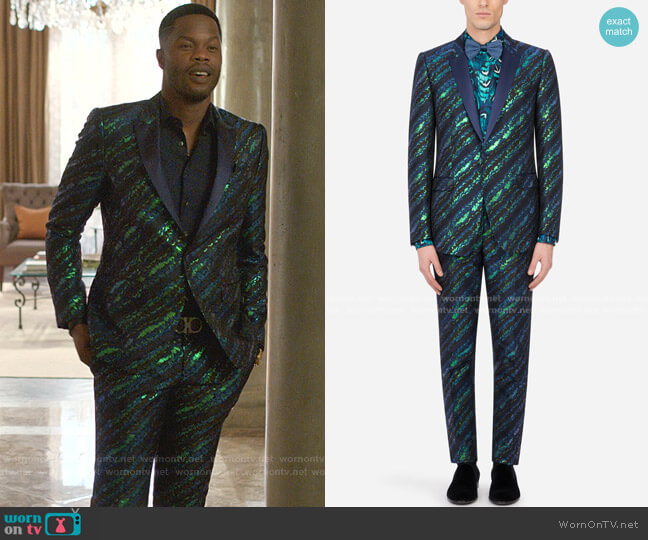 Lamé Jacquard Martini-Fit Tuxedo Suit by Dolce & Gabbana worn by Jeff Colby (Sam Adegoke) on Dynasty