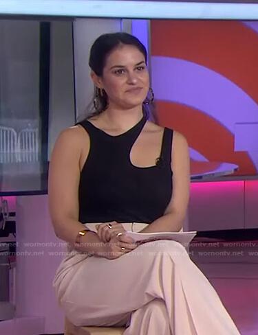Donna's black asymmetric sleeveless top on Today