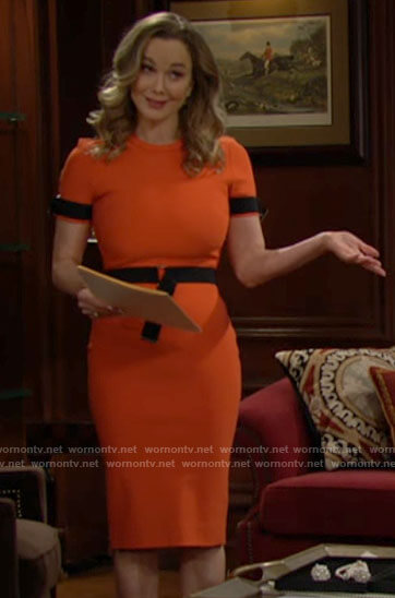 Donna's orange short sleeve belted dress on The Bold and the Beautiful
