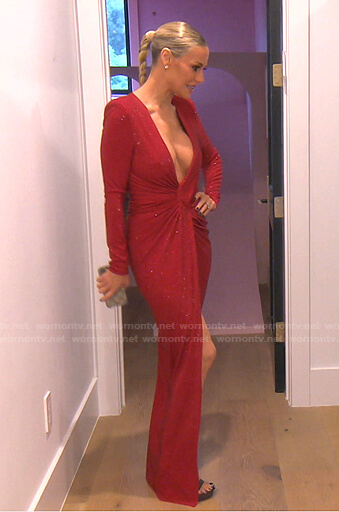 Dorit's red twisted plunge neck dress on The Real Housewives of Beverly Hills