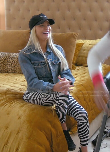Dorit's zebra sports bra and leggings on The Real Housewives of Beverly Hills