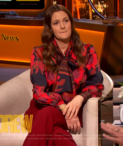 Drew's black and red floral print blouse on The Drew Barrymore Show