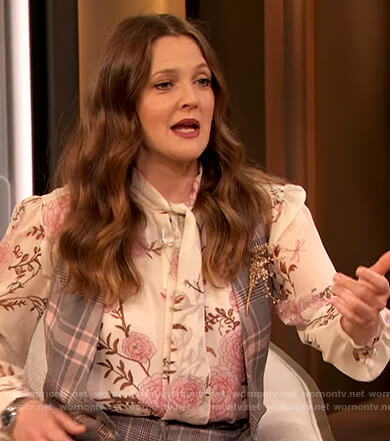 Drew's floral print tie neck blouse on The Drew Barrymore Show