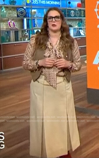 Drew Barrymore's geometric blouse and pleated midi skirt on CBS This Morning