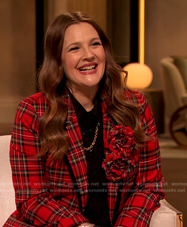 Drew's red plaid blazer and chain embellished blouse on The Drew Barrymore Show
