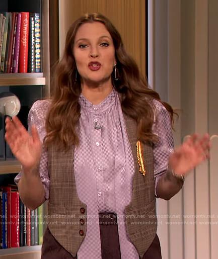 Drew's lavender satin tie neck blouse on The Drew Barrymore Show