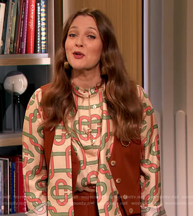 Drew's printed blouse and vest on The Drew Barrymore Show
