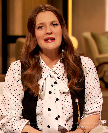 Drew's white polka dot blouse and dotted pants on The Drew Barrymore Show