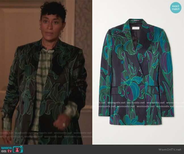 Double Breasted Floral Print Blazer by Dries Van Noten worn by Rainbow Johnson (Tracee Ellis Ross) on Blackish