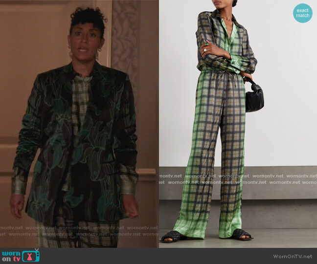 Ombre Plaid Blouse and Pants by Dries Van Noten worn by Rainbow Johnson (Tracee Ellis Ross) on Blackish