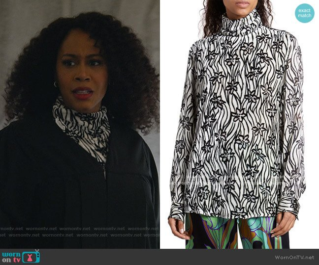 Contisy Floral Velvet Turtleneck Top by Dries Van Noten worn by Lola Carmichael (Simone Missick) on All Rise