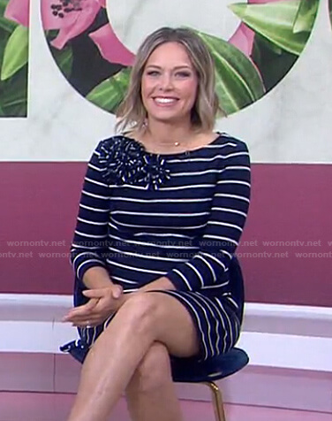 Dylan's navy striped flower detail dress on Today