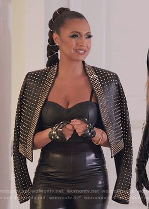 Ebony's black studded leather jacket on The Real Housewives of New York City