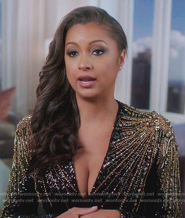 Ebony's black embellished confessional dress on The Real Housewives of New York City