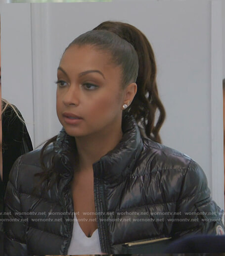 Ebony's black puffer jacket on The Real Housewives of New York City