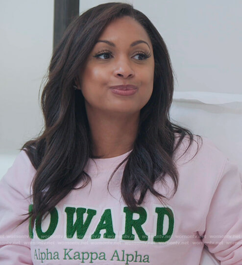 Ebony's pink howard sweater on The Real Housewives of New York City