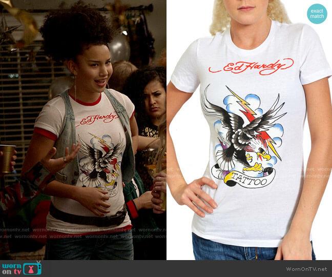 Ed Hardy Tattoo Eagle Tee Shirt worn by Gina (Sofia Wylie) on High School Musical The Musical The Series
