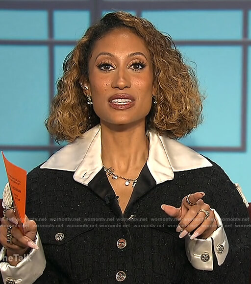 Elaine's black tweed jacket on The Talk
