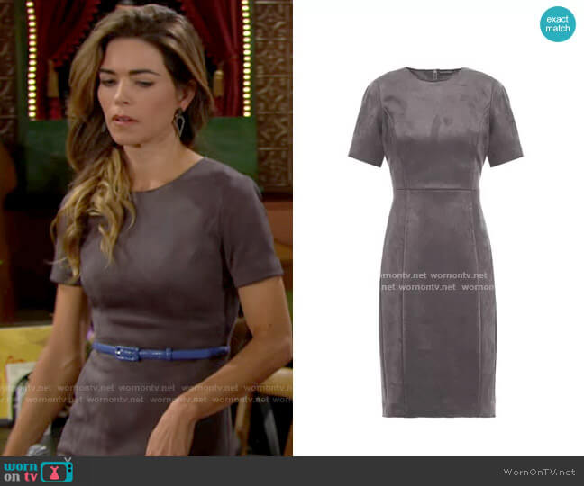 Elie Tahari Emily Faux Suede Dress worn by Victoria Newman (Amelia Heinle) on The Young & the Restless