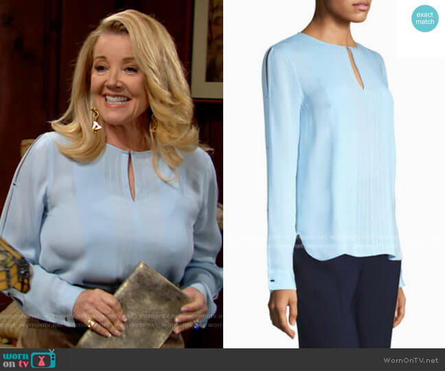 Elie Tahari Jolene Blouse worn by Nikki Reed Newman (Melody Thomas-Scott) on The Young & the Restless