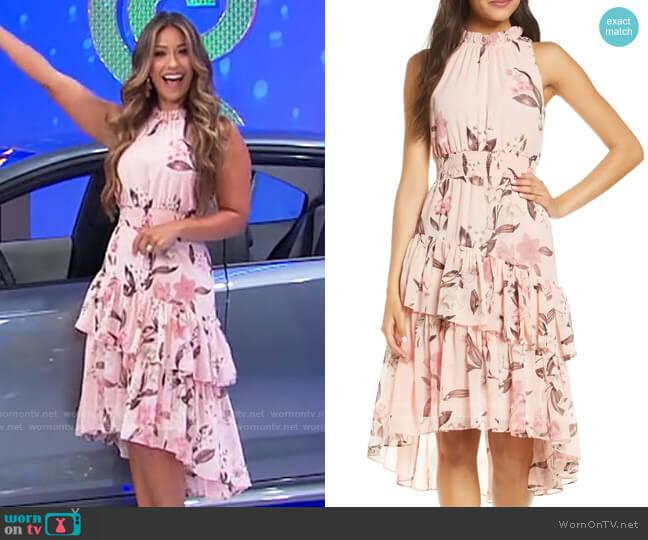 Eliza J Floral Asymmetric Tiered Dress worn by Manuela Arbeláez  on The Price is Right