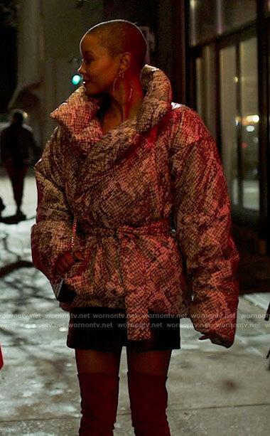 Ella's snake print puffer jacket on Run the World