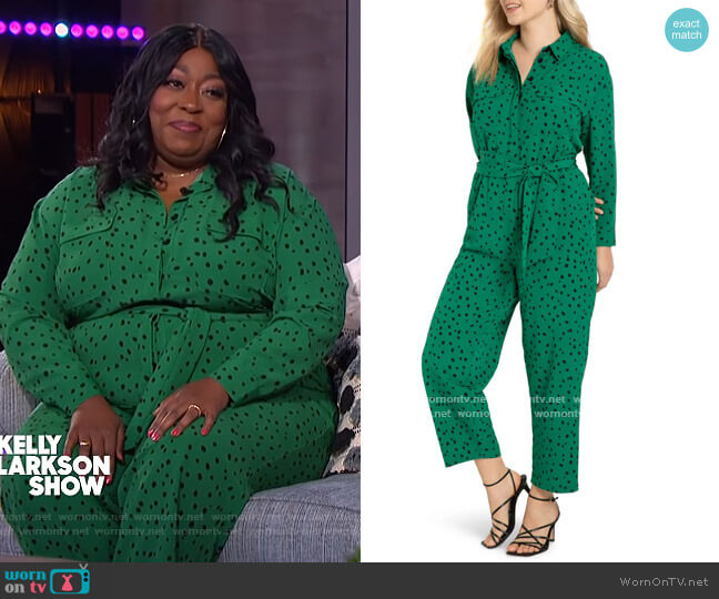Dot Long Sleeve Jumpsuit by Eloquii worn by Loni Love on The Kelly Clarkson Show