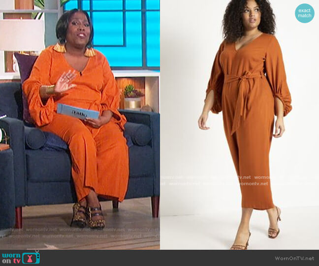 Puff Sleeve Linen Jumpsuit by Eloquii worn by Sheryl Underwood  on The Talk