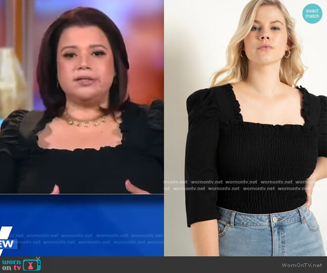 Smocked Top with Ruffles by Eloquii worn by Ana Navarro  on The View