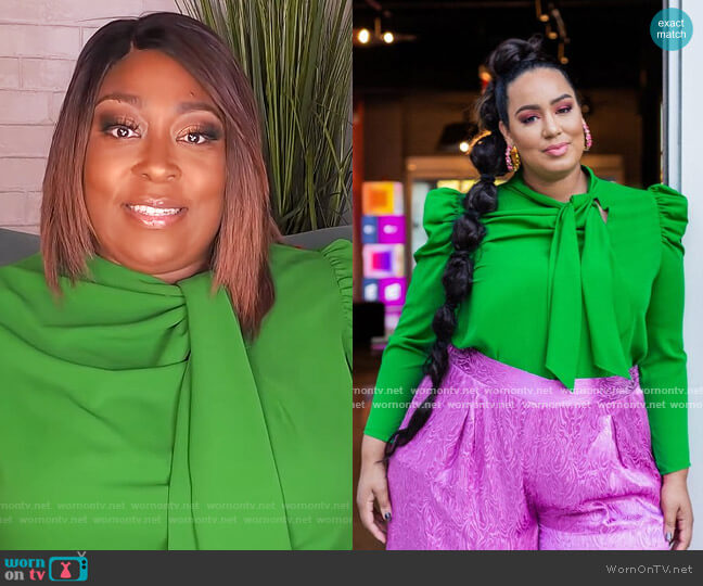 Tie Neck Bow Blouse by Eloquii worn by Loni Love  on The Real