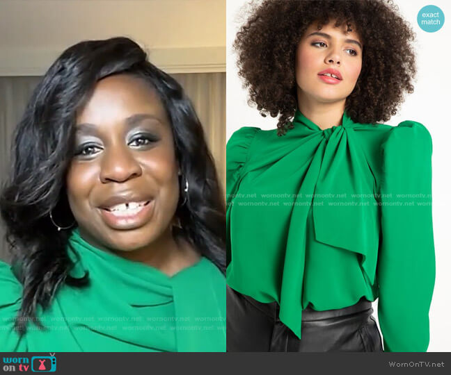 Tie Neck Bow Blouse by Eloquii worn by Uzo Aduba on Live with Kelly and Ryan