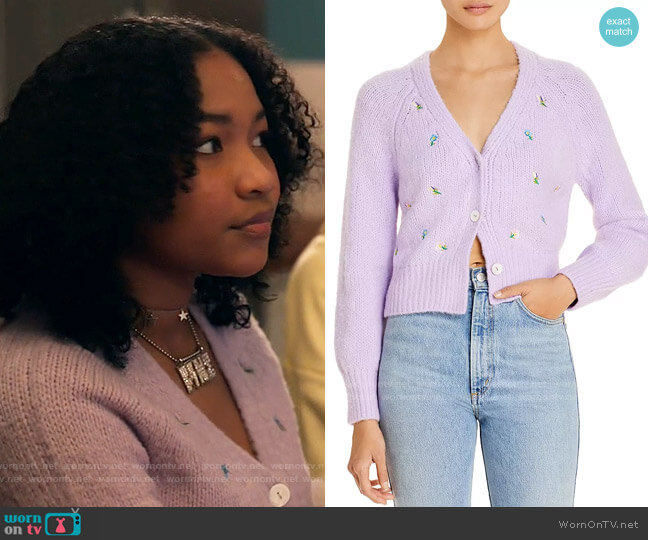 English Factory Embroidered Knit Cardigan worn by Delilah (Laya DeLeon Hayes) on The Equalizer